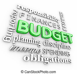 Budget 3d Word Collage Planning Finances Spending Saving...