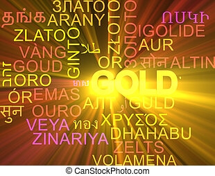 Gold multilanguage wordcloud background concept glowing -...