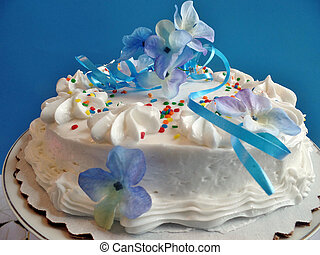 Decorated cake with white icing