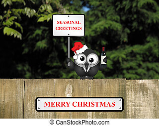 Merry Christmas - Comical drunk bird with seasonal greetings...