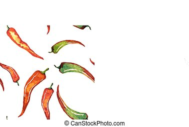 Red chili pepper isolated on white seamless background...
