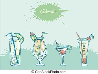 Set of isolated colorful sketch cocktails and drinks. Vector...