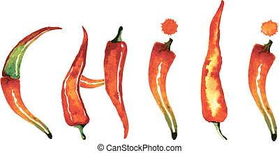 Red chili pepper isolated on white background. Healthy...