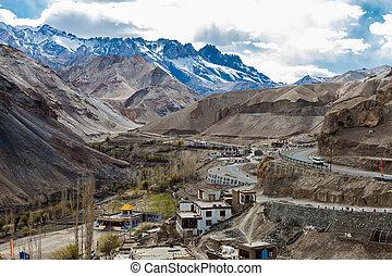 Aerial view of indian village at Lamayuru Monastery in...