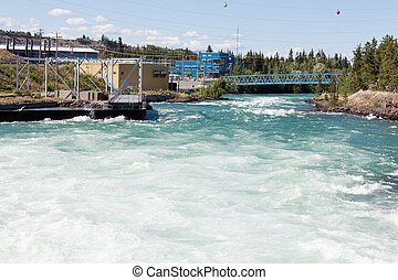 Whitehorse hydro power dam spillway Yukon Canada - Violent...