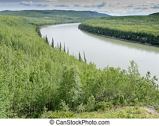 Green Liard River wilderness BC Canada - Liard River valley...