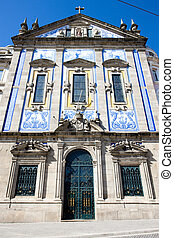 church with azulejos tiles, Porto, Douro Province, Portugal...