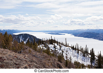 Lake Laberge spring frozen surface Yukon Canada - Boreal...