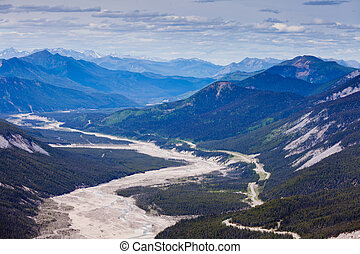 MacDonald Creek glacial valley BC Canada - Aerial view of...