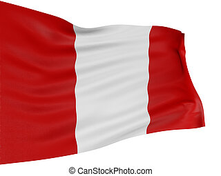 3D Peruvian flag with fabric surface texture. White...