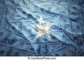 colorful waving somalia flag on a american dollar money...