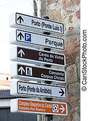 direction indicators, Porto, Douro Province, Portugal