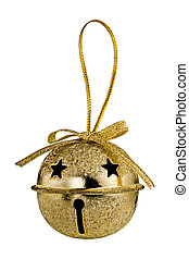 Jingle Bell - Gold Christmas Jingle Bell isolated on white...