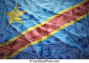 colorful waving democratic republic of the congo flag on a...