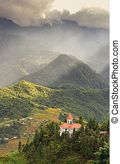 sapa - Sapa valley with sun beam background in the morning,...