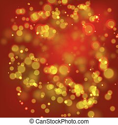 Gold and red bokeh - Abstract pattern with gold lights on...
