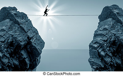 Man Balancing on the Rope High in t - Highline walker in...
