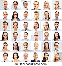 collage with many business people portraits - success...