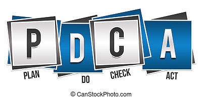 PDCA - Plan Do Check Act Blue Grey - PDCA concept image with...