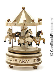 carousel - antique wooden carousel on a white background