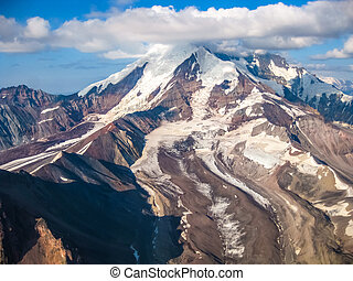 Wrangell St Elias Alaska - Aerial view of a glacier mountain...