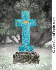 Gravestone in the cemetery - Kazakhstan - Old weathered...