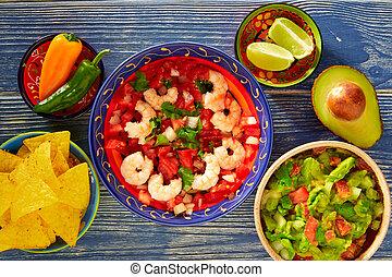 Ceviche, Camaron, camarón, Nachos, y, guacamole,