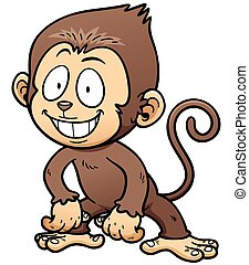Monkey - Vector illustration of Cartoon Monkey
