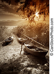 Sunset with Boats , Toned Image.