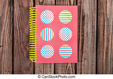 Realistic template Notepad on wooden background