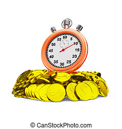 stopwatch on coins - Red stopwatch on a handful of coins