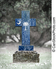 Gravestone in the cemetery - South Carolina - Old weathered...