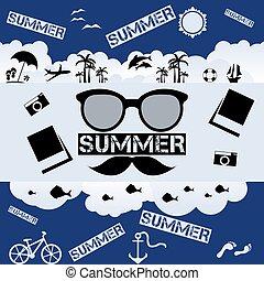 Retro summer vector flat illustration