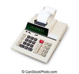 Old calculator - interest - Old calculator showing a text on...