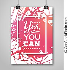 Motivational Poster Square Frame with Paint Splash. Text...