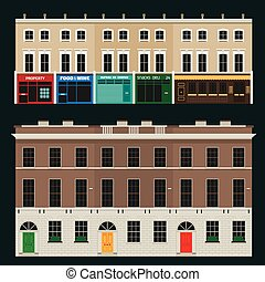 English terrace houses - Buildings set with english terrace...