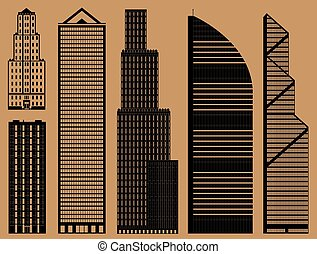 Buildings set with business skyscrapers - monochrome
