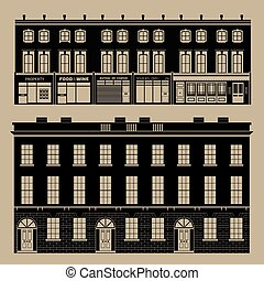Monochrome english terrace houses - Buildings set with...