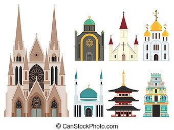 Cathedrals and churches infographic set
