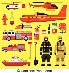 Fire brigade equipment infographics set - Firefighters,...