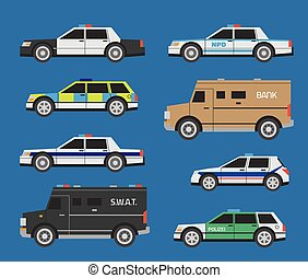Police cars - Vector international police cars, includong...
