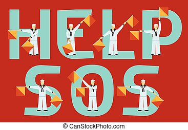 Help and SOS semaphore flags and text on red background