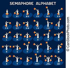 Semaphore alphabet flags on a blue background with sailors...