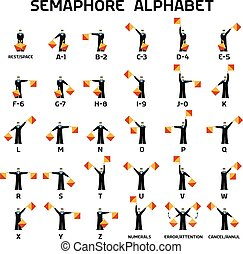 Semaphore alphabet flags on a white background in black...