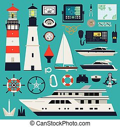 Ships - Yachts equipment - Marine equipment infographic...