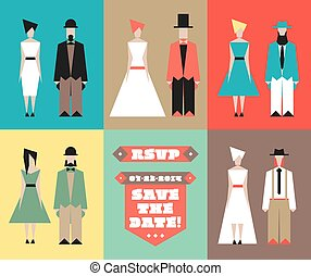 Wedding invitation with figurines - Vector figurines for...