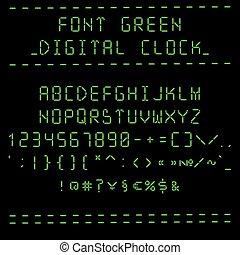 Font green digital clock