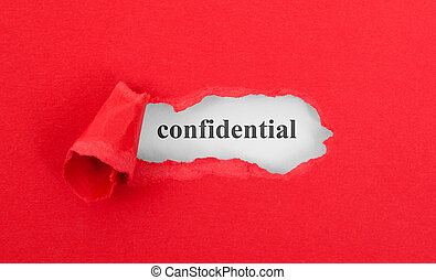 Text appearing behind torn red envelop - Confidential