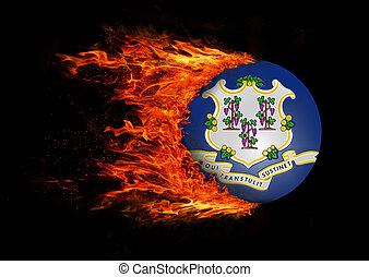 US state flag with a trail of fire - Connecticut