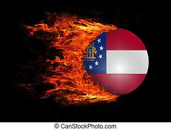 Na, stan, Bandera, Z, à, ciągnąć, Od, ogień, -,...